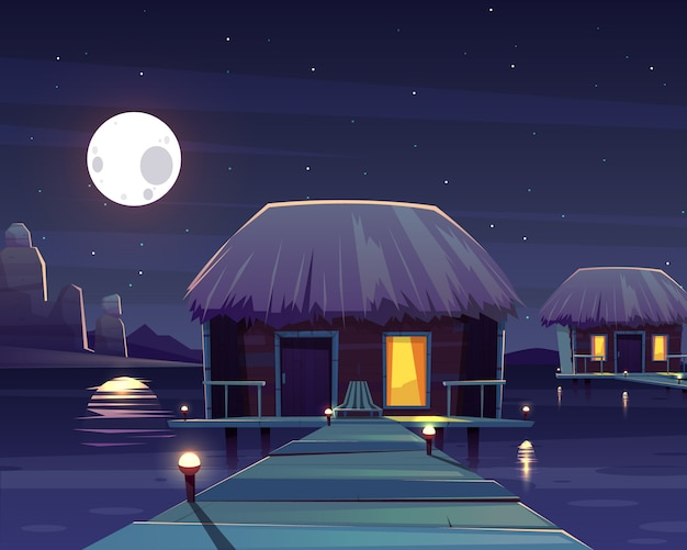 Vector cartoon background with rich hotel on piles at night. Free Vector