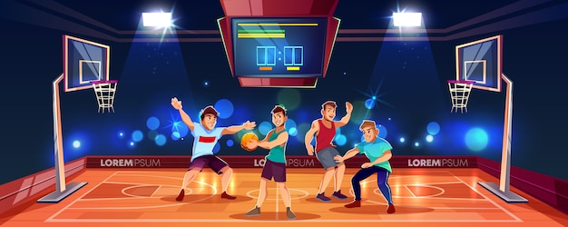 Free Vector Vector Cartoon Background With Sports People Playing Team Game On Basketball Arena Indoor Playgroun