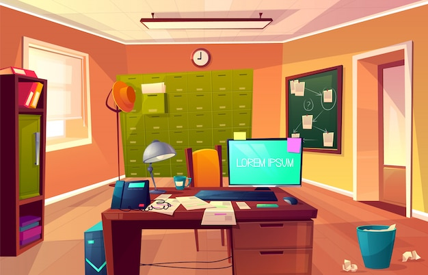 Vector cartoon background of workplace of private detective or policeman. Free Vector