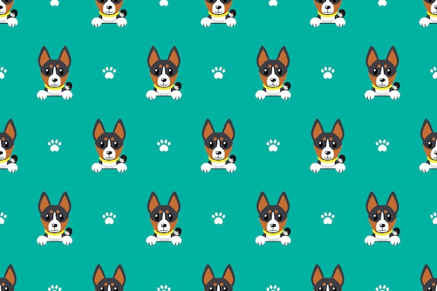 Vector cartoon basenji dog seamless pattern Premium Vector
