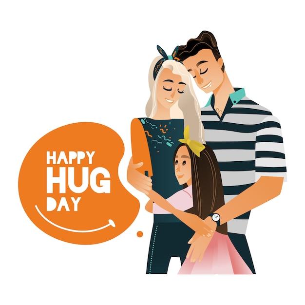 Vector cartoon big family character hugging winter Premium Vector