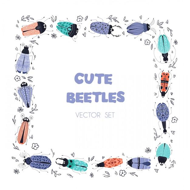 Векторный мультфильм насекомых или жуков, квадратная рамка Premium векторы
