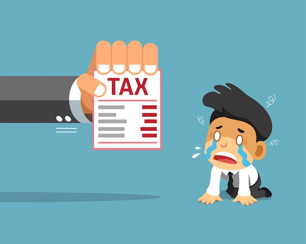 Vector cartoon businessman and tax Premium Vector