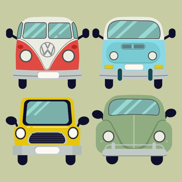 Vector cartoon car pack set Premium Vector