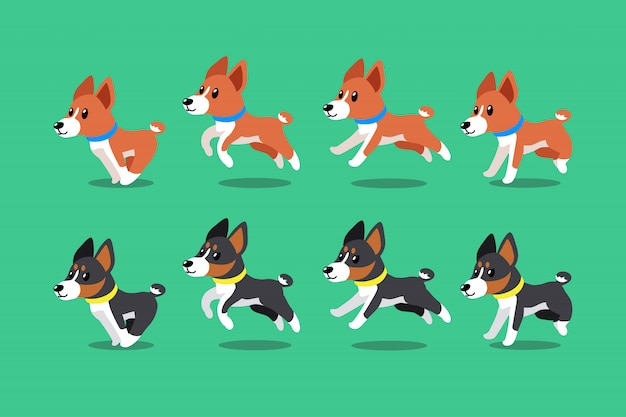 Vector cartoon character basenji dogs running step Premium Vector