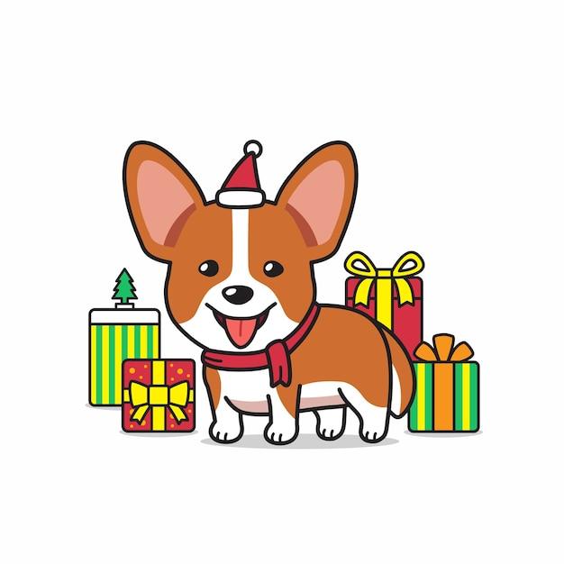 Векторный мультипликационный персонаж собака корги с подарками Premium векторы
