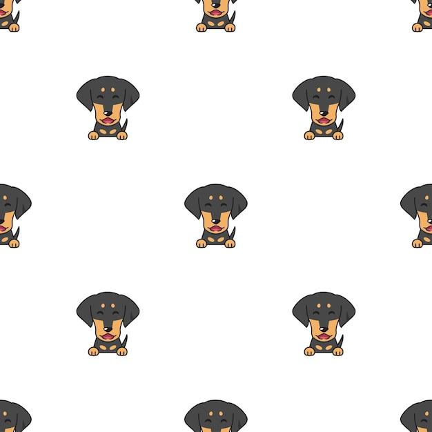 Векторный мультипликационный персонаж собака такса бесшовный фон Premium векторы