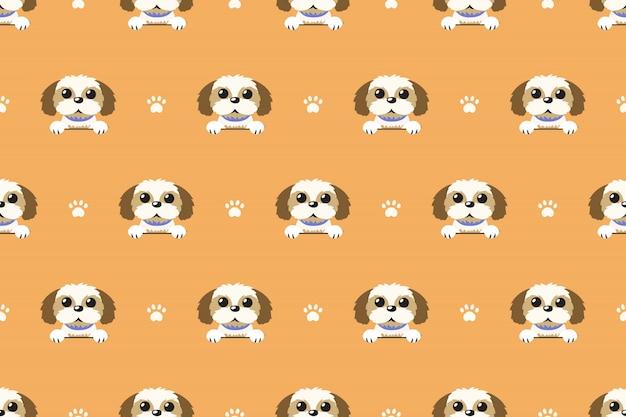 Vector cartoon character shih tzu dog seamless pattern Premium Vector
