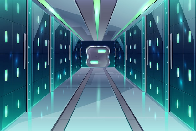 Vector cartoon corridor in a spaceship, datacenter with server racks Free Vector