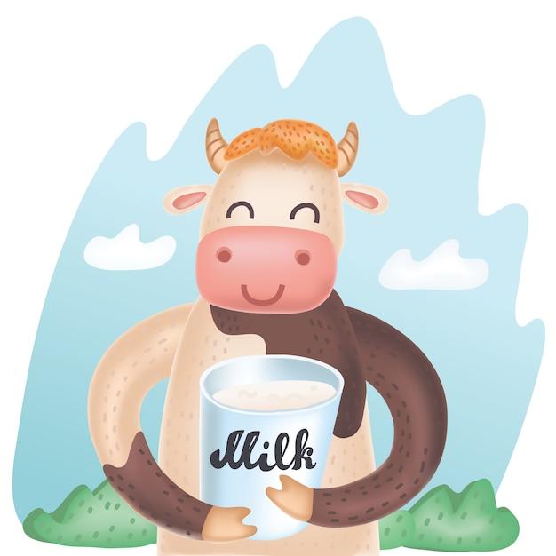 牛乳のバケツと牛のベクトル漫画かわいいイラスト Premiumベクター