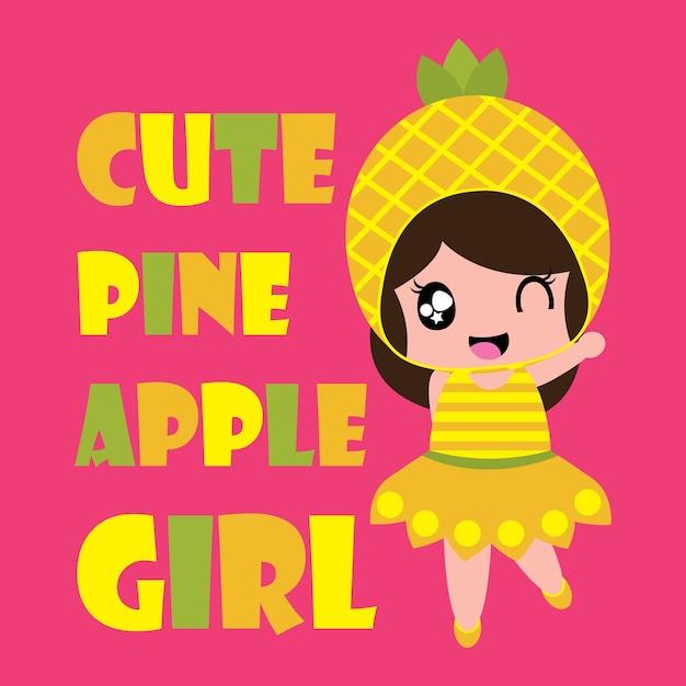 vector cartoon cute pineapple girl pink background 1532 33