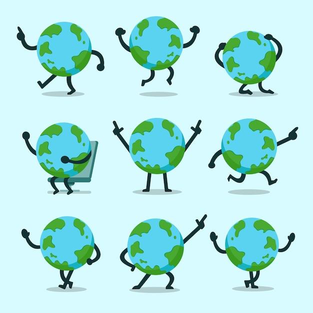 Vector cartoon earth character poses set Premium Vector