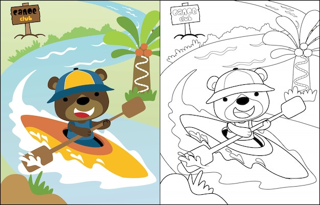Vector cartoon funny bear on canoe Premium Vector