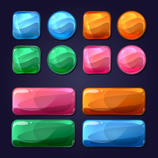 Векторные мультяшные стеклянные кнопки для пользовательского интерфейса пользовательского интерфейса игры. дизайн глянцевый, круглый блестящий элемент иллюстрации Бесплатные векторы