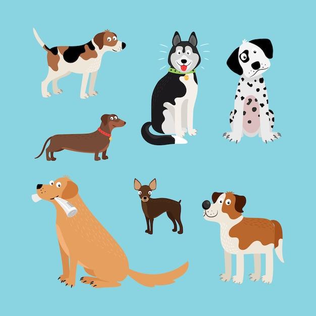 Vector Cartoon Happy Dogs Set Premium Vector
