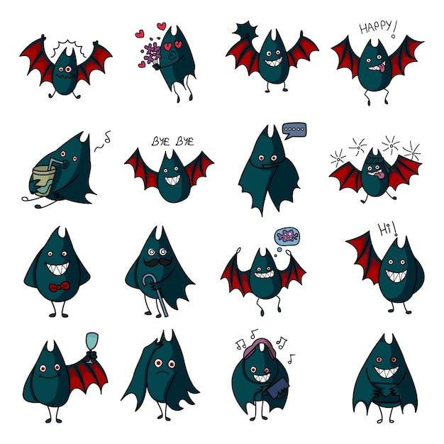 Vector cartoon illustration of bat set. Premium Vector