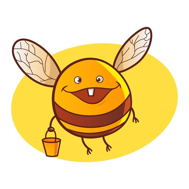 Vector cartoon illustration of cute honey bee. Premium Vector