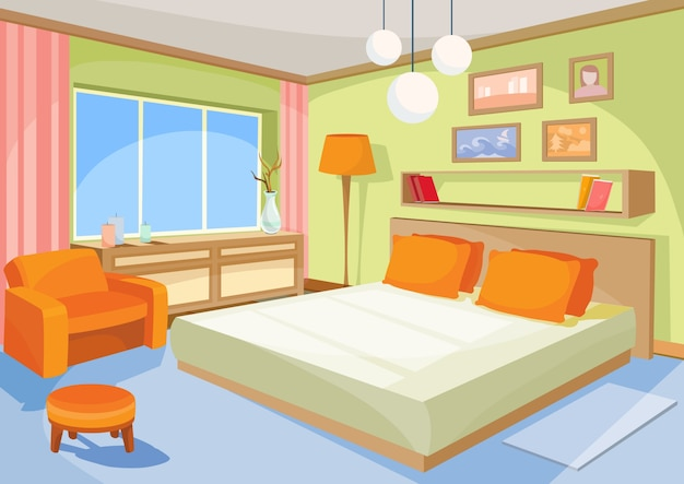 Vector cartoon illustration interior orange-blue bedroom, a living room with a bed, soft chair Free Vector