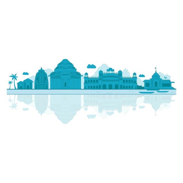Vector cartoon illustration of odisha skyline. Premium Vector
