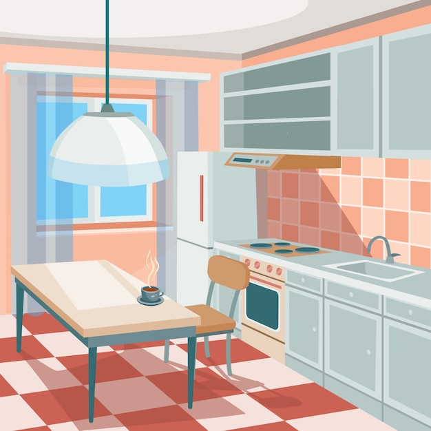 Cartoon Kitchen Furniture: Vector Cartoon Illustration Of A Kitchen Interior Vector