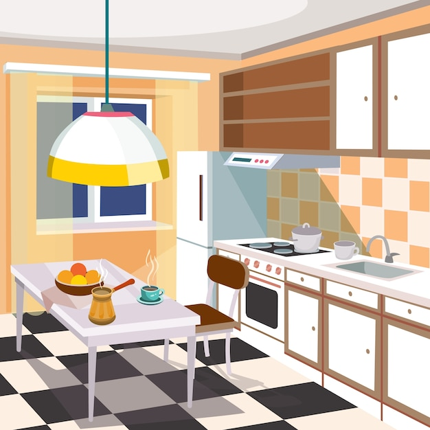 Vector cartoon illustration of a kitchen interior Vector ...