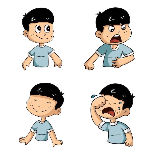 少年ステッカーセットのベクトル漫画イラスト Premiumベクター