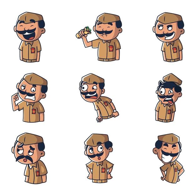 Иллюстрация шаржа вектора человека почтового отделения. Premium векторы