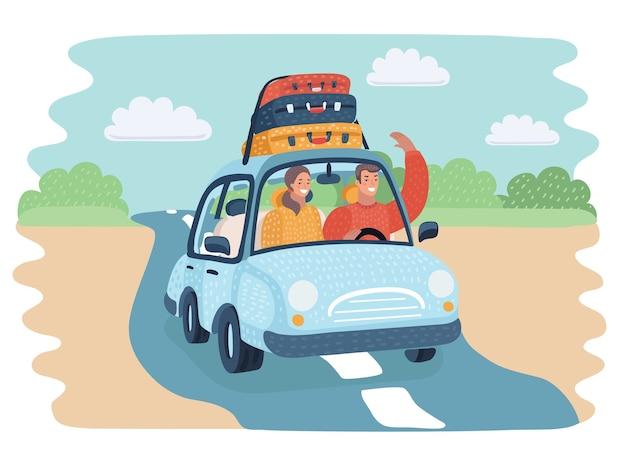 田舎道を車で移動する乗馬男のベクトル漫画イラスト Premiumベクター