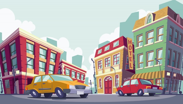 Vector cartoon illustration of the historic urban area Free Vector