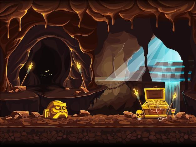 폭포와 가슴 보물 동굴의 벡터 만화 그림. 프리미엄 벡터