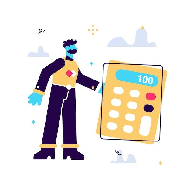 Векторные иллюстрации шаржа крошечный человек, стоящий возле большого калькулятора на белом фоне. Premium векторы