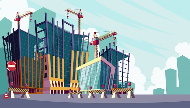 Vector cartoon illustration of the process of the construction of buildings Free Vector