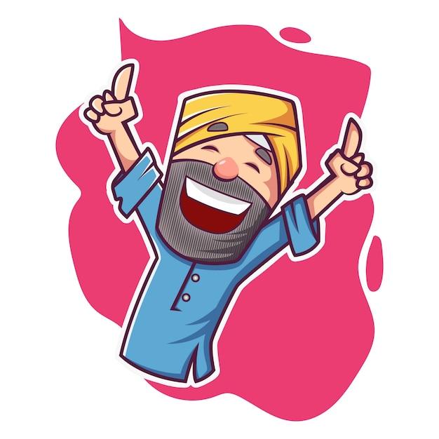 Vector cartoon illustration of punjabi man dancing. Premium Vector