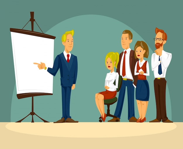 Vector cartoon illustration of a smart businessman in the office a presentation Free Vector