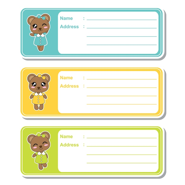 vector cartoon illustration with cute bear girls on colorful