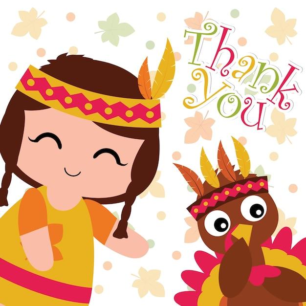 かわいいインドの女の子と七面鳥メイプルでベクトル漫画のイラストは、幸せな感謝のカードデザイン、感謝のタグ、および印刷可能な壁紙に適した背景の葉 Premiumベクター