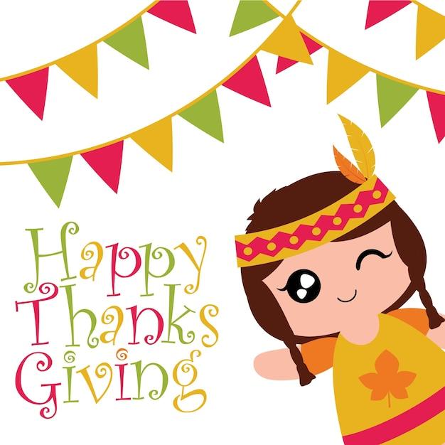 かわいいインドの女の子とベクトル漫画の絵は、幸せな感謝のカードデザイン、感謝のタグ、および印刷可能な壁紙 Premiumベクター