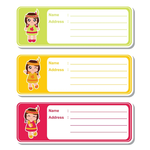 Vector cartoon illustration with cute indian girls on colorful background suitable for kid address label design