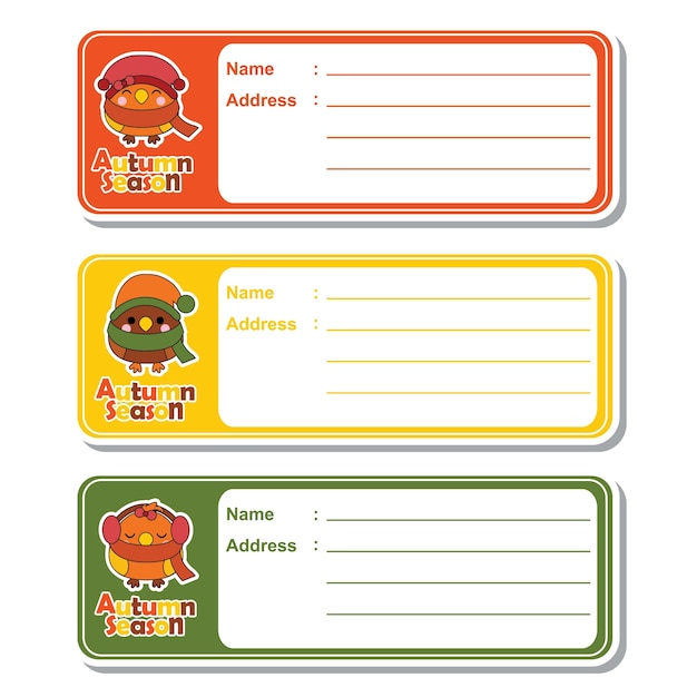 Vector Cartoon Illustration With Cute Kawaii Birds On Colorful Background Suitable For Kid Address Label Design