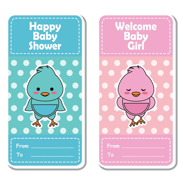 Vector Cartoon Illustration With Cute Pink And Blue Baby Chick On