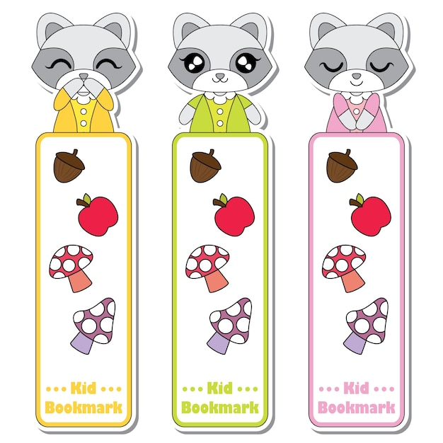Products Bookmarks Design Inspiration And: Vector Cartoon Illustration With Cute Raccoon Girls, Apple