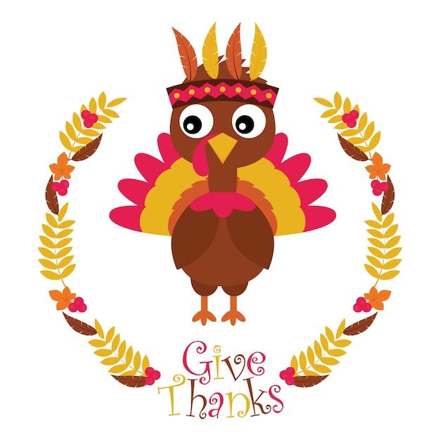 幸せな感謝のカードデザイン、感謝のタグ、および印刷可能な壁紙に適した花輪は、楓の七面鳥とベクトル漫画の葉を残す Premiumベクター