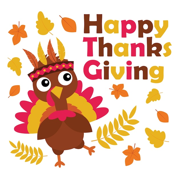 Vector Cartoon Illustration With Cute Turkey Is Happy On Thanksgiving Day Suitable For Card