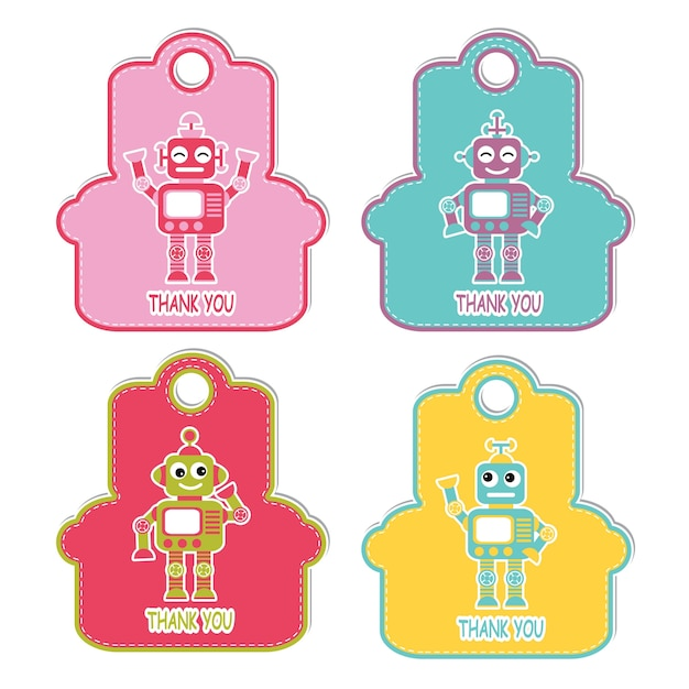 Vector Cartoon Illustration With Robot Boys On Coloful Frame Character  Suitable For Birthday Gift Tag Set