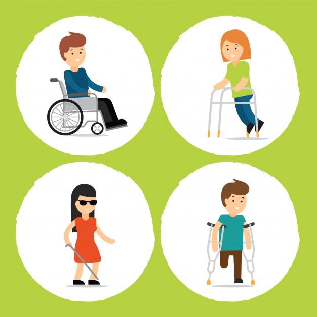 Vector cartoon illustrations of people with disabilities Premium Vector