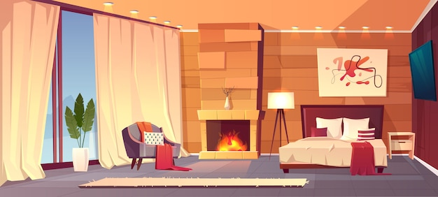 Vector cartoon interior of cozy hotel bedroom with furniture - double bed, carpet and fireplace. liv Free Vector