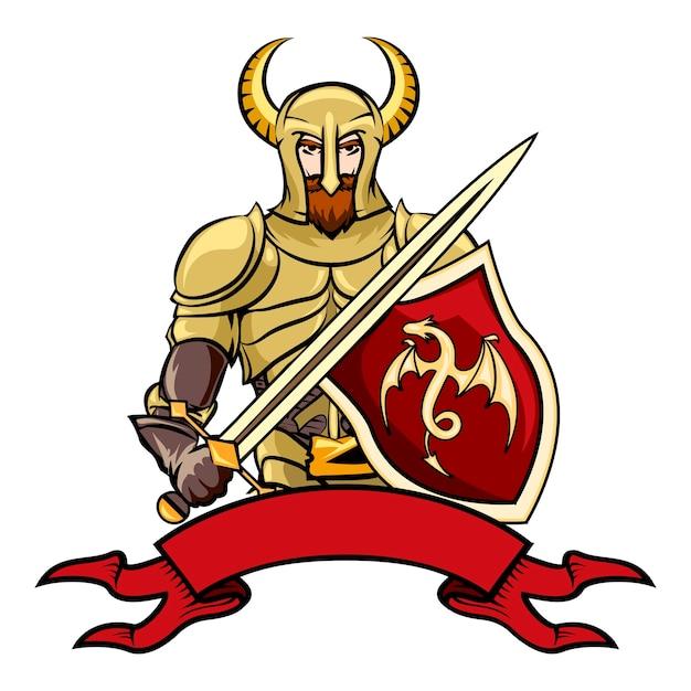 白のベクトル図の下にドラゴンの剣と空白のビンテージリボンバナーと角のあるヘルメットの盾を持つベクトル漫画の騎士 無料ベクター