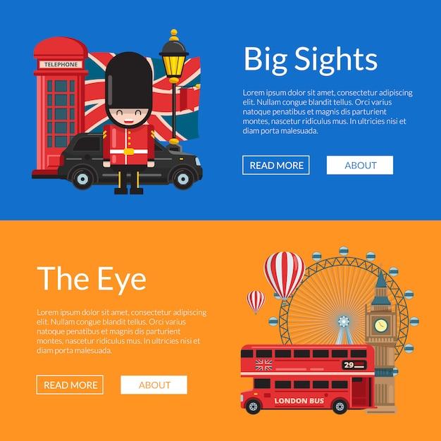 Vector cartoon london sights. england attractions banner template set Premium Vector