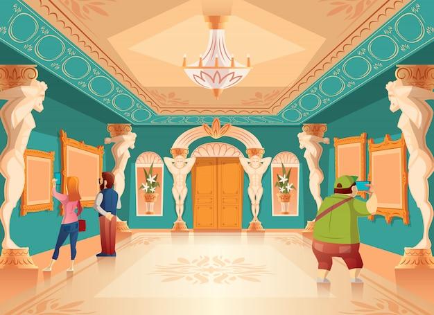 Esposizione del museo del fumetto di vettore con le immagini ed i visitatori nella sala da ballo reale con le colonne di atlante. ar Vettore gratuito