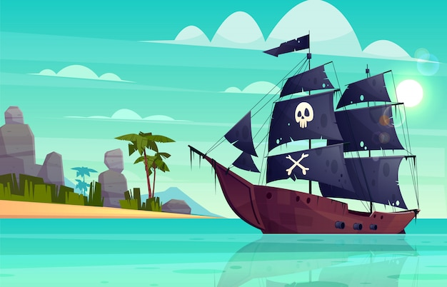 Vector cartoon pirate ship on water, sand beach of the bay. Free Vector